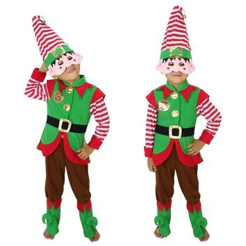 90-160CM Kid Cosplay Dress Suit Boy Girl Performance Uniform Green Christmas Elf Clothes Santa's Costume Clown Clothes Halloween