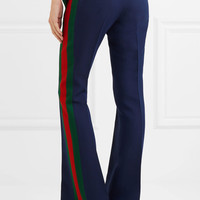 Gucci - Striped wool and silk-blend cady flared pants