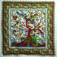 White Tree Of Life Tie Dye Hippie Cotton Tapestry Wall Hanging Bedspread