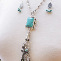 Silver Cowgirl Charm Necklace and Earrings, Turquoise Necklace, Rodeo Jewelry, Western Theme Charms, Cowgirl Hat Necklace, Silver Necklace