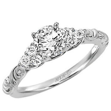 "Artcarved ""Gossimer"" Scrollwork Diamond Engagement Ring"