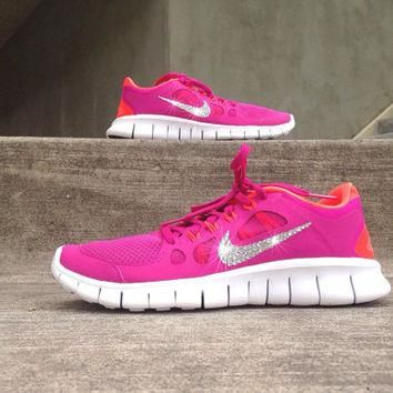 New In Box Women's Nike Free Run 5.0 Running Shoes [580565-600] Customized With Swarov