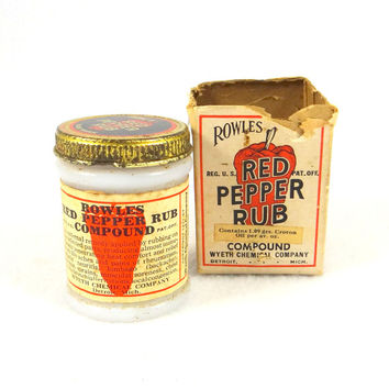 Vintage Milk Glass Rowles Red Pepper Compound Jar with Original Box