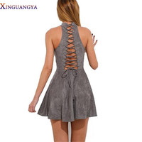 2017 Summer Dress Lace up Back A-line Sexy Suede dresses Halter Grey Hollow Out Sleevless Fashion Bow Party Dress