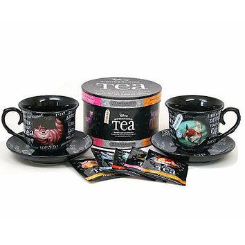 Disney Parks Alice in Wonderland Tea Cups & Saucers & 12 Tea Bags New with Box