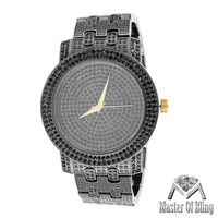 Black Gold Tone Techno Pave Lab Diamonds Gold Tick Mens Watch