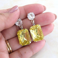 Bridal Earrings Pastel Yellow Foiled Octagon Stone Rhinestone Silver Stud Bella EV1 Vintage Inspired Estate Style Wedding Jewelry