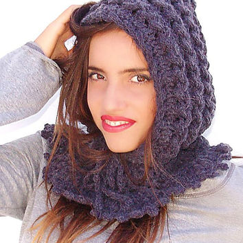 Crochet  hat - hood, hooded collar, hooded hat, crocheted neck warmer, Gray braids, cij