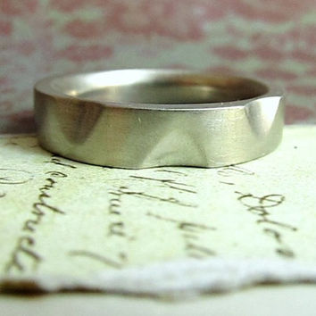 Men's Wedding Band, Platinum File Work Ring, Knife Tang, Modern, Deco, Industrial, Metalwork Jewelry... 6mm