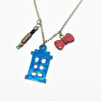 11th Doctor Necklace Inspired by Doctor Who: TARDIS, green sonic screwdriver and red bow tie