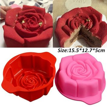 1 Piece High Quality Rose Shape Silicone Cake Mould Chocolate Pudding Mold Kitchen DIY Cake Baking Pan Cake Tools Random Color