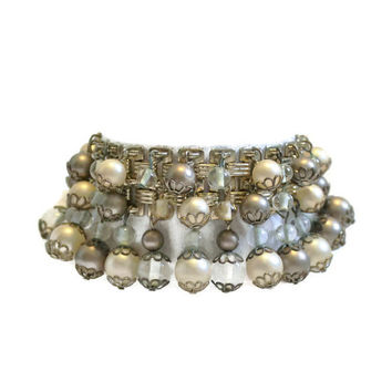 Vintage Pearl and Bead Bracelet Pearl and Bead Dangle Bracelet Cha Cha Bracelet Bridal Bracelet Wedding Bracelet