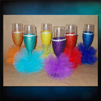 Mini Tutus with Glitter and Bling - champagne glasses - toasting glasses - bridal party glasses - wedding party glasses