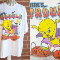 Vintage Looney Tunes Shirt, Adult Size XL, 90s Clothing, Tweety Bird, Halloween, Grunge Tee, Here's Trouble, Hipster Shirt, Hip Hop Clothing