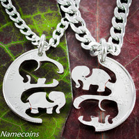 Elephant Necklaces,  Interlocking Jewelry Set, Friendship or Couples, hand cut quarter