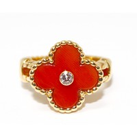 A Vintage Alhambra Coral and Diamond Ring, by Van Cleef & Arpels circa 1990