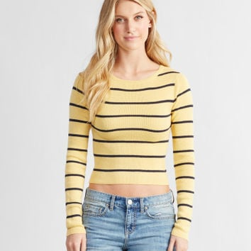 Prince & Fox Striped Crop Sweater - Aeropostale