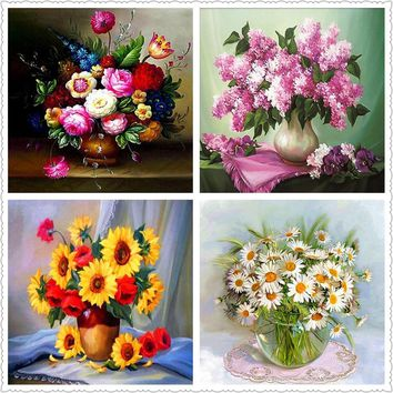 DIY,Full,5D,Flower,Diamond Painting,Mosaic Cross Stitch,Diamond Embroidery,Needlework,Round Rhinestone,Decoration, Art,Vase