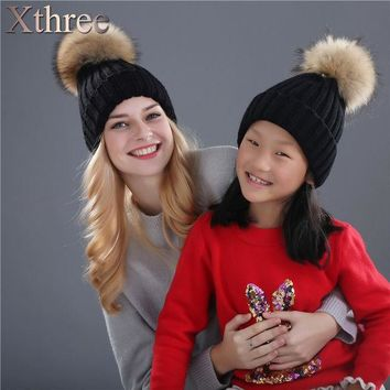 ICIKJG2 Xthree real mink fur pom poms knitted hat ball beanies winter hat for women girl 's hat Skullies brand new thick female cap