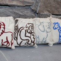 Set of 4 Hand-Stenciled Zoo Jungle Animals Gift or Party Favor Bags Cotton Muslin 5 x 6 Lion, Monkey, Elephant & Giraffe