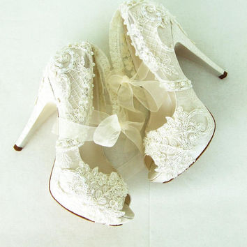 """Embroidered Lace Bridal Shoes with Pearls in Ivory,5""""Heels  Peep Toes- Elegant Wedding Shoes"""