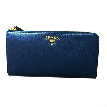 Prada Women's Navy Blue Vitello Move Quarter Zip Wallet 1ML183