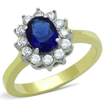 Vision of Love - FINAL SALE A Glamorous Sapphire Colored Stone Ring and a High Polished Gold Stainless Steel Band