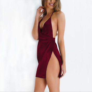 ESBONV Autumn and winter halter sexy nightclub wind party silk dress hem open fork was deep chest V dress
