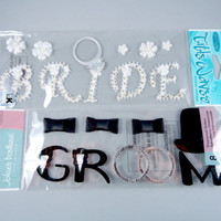 Bride & Groom Title Stickers, Jolee's Boutique 3D wedding stickers, Destash, scrapbook embellishments, wedding album supplies