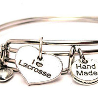 I Love Lacrosse Heart Two Expandable  Cuff  Bracelets with Crystal beads  Free shipping