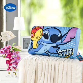 Blue Cartoon Stitch Printed Memory Pillows 50x30cm Slow Rebound Waving Foam Neck Cervical Travel Healthcare Children's Bedding