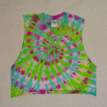 Tie Dye Shirt Crop Top MED Large Festival Hippie Psychedelic Clothing Womens Handmade Tie Dye Spiral Neon Green Cutoff Tank Soft Grunge