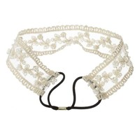 Fashion Lady Girls Sweet Pearl Beads Lace Wide Elastic Headband Hair Band Bridal Beige