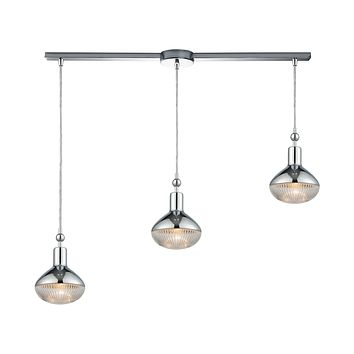 Ravette 3-Light Linear Mini Pendant Fixture in Polished Chrome with Clear Ribbed Glass