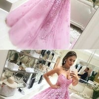 Pink Ball Gown Lace Appliques Sweetheart Sleeveless Long Prom Dress G2850