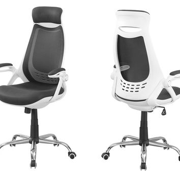 Office Chair - White / Grey Mesh / Chrome High-Back Exec