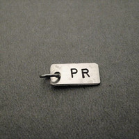 ONE (1) PR Personal Record Pendant Only - Hand Hammered Nickel Silver Pendant Hand Stamped with PR with Gunmetal Jump Ring