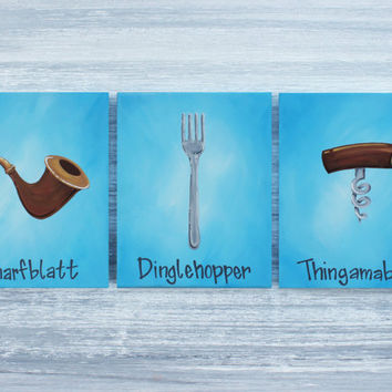 "The Little Mermaid Paintings / Dinglehopper, Thingamabob, and Snarfblatt / Set of 3 Paintings, 8""x10"""
