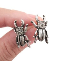 Stag Beetle with Pincers Shaped Rhinestone Stud Earrings in Silver | DOTOLY