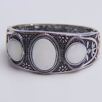 Art Deco Mother of Pearl Bangle Bracelet