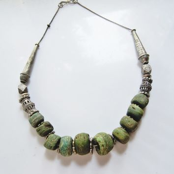 Hebron Bead Necklace With Silver Bedouin Yemeni Cage Beads