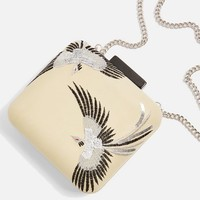 Leather Bird Embroidered Boxy Clutch | Topshop