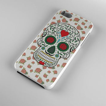 DS269-iPhone Case - Iphone 5 case-Iphone 5s case - Iphone 4 case - Iphone 4s case - Iphone Cover -Sugar Skull Roses Flowers iPhone Case
