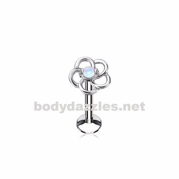 Opal Centered Hollow Flower Top 316L surgical Steel Internally threaded Labret,Monroe, Cartilage Studs