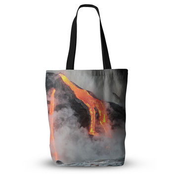 "KESS Original ""Hawaiian Lava"" Orange Red Everything Tote Bag"