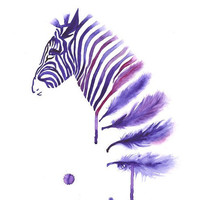 Purple Zebra Art Print A3, Large Wall Art Home Decor, Horse Art, Contemporary Modern Poster, Zebra Feather Watercolor