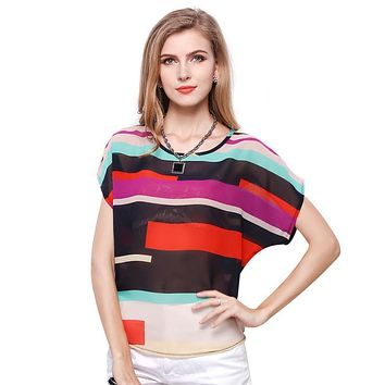 Loose Batwing Sleeve Colorful Striped Women Chiffon Blouses Tops Spring Summer Casual Work Blouse