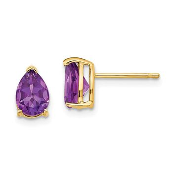 14k Gold 7 x 5 mm Pear Amethyst Earrings