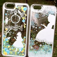 Alice in Wonderland Liquid Glitter iPhone Case