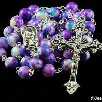 Catholic Rosary Rain Flower Natural Stone Silver Traditional Purple Blue White Rosary Beads
